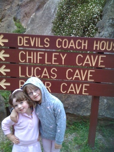 The girls were excited after exploring the Chifley cave